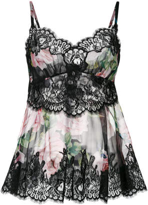 Dolce & Gabbana rose print lace camisole