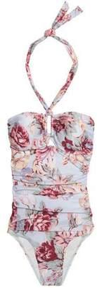 Zimmermann Cutout Floral-Print Bandeau Swimsuit