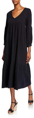 Rachel Pally Plus Size Cecelia V-Neck 3/4-Sleeve Tiered Cotton Gauze Dress