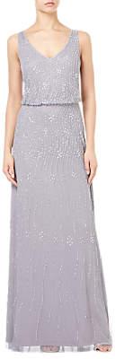 Adrianna Papell Blouson Sleeveless Gown, Silver Grey