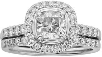 Kohl's 14k White Gold 1 1/2-ct. T.W. Cushion-Cut IGL Certified Diamond Frame Ring Set