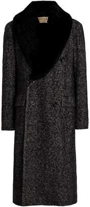 Burberry Detachable Shearling Collar Wool Silk Blend Coat