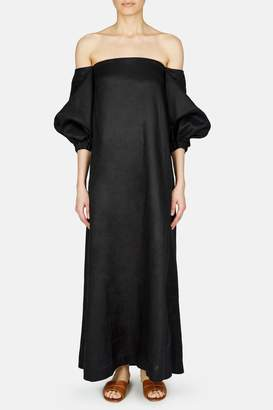 Lisa Marie Fernandez Rosie Linen Bubble Sleeve Dress - Black