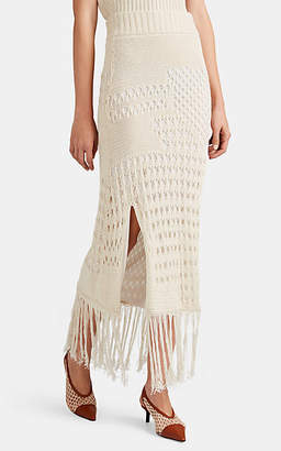 Altuzarra Women's Benedetta Cotton-Blend Fringed Macramé Skirt - Ivory