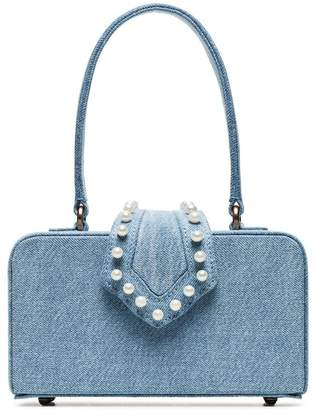 Mehry Mu blue In The 50s pearl embellished denim box bag