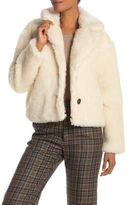 AVEC LES FILLES Cropped Faux Fur Jacket