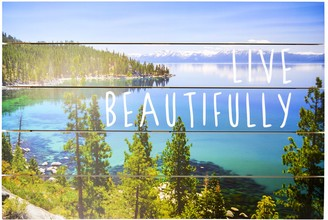 """New View Live Beautifully"""" Planked Wall Decor"""