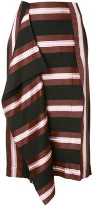Cédric Charlier striped midi skirt
