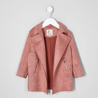 River Island Mini girls coral pink faux suede trench coat