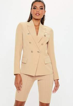 Missguided Nude Military Blazer, Beige