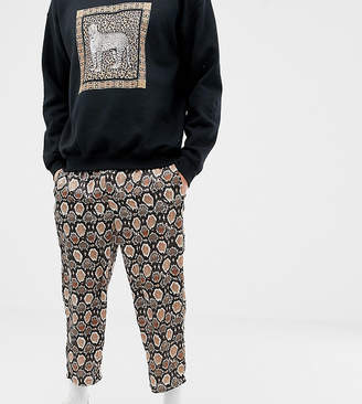 Reclaimed Vintage inspired snake skin print cropped relaxed pants