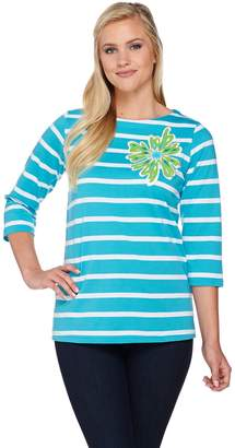Bob Mackie Floral Applique Jewel Neck Striped Top w/ 3/4 Sleeves