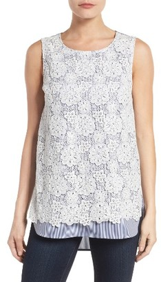 Women's Nydj Lace Overlay Stripe Top $98 thestylecure.com