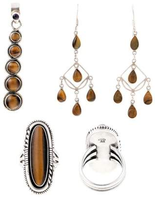 Sterling Silver and Synthetic Tigers Eye Earrings, Pendant and Ring Size 7 Set