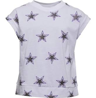 Converse Junior Girls AOP Boxy Top White/Black