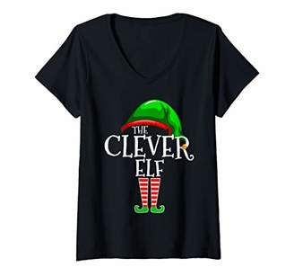 Womens The Clever Elf Family Matching Group Christmas Gift Smart V-Neck T-Shirt