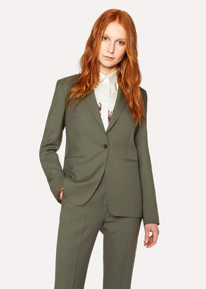 Paul Smith A Suit To Travel In - Women's Olive Green One-Button Wool Blazer