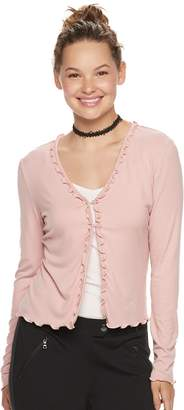 Candies Juniors' Candie's Ruffle Front Cardigan