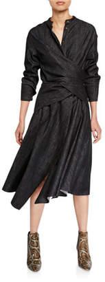 Brunello Cucinelli Long-Sleeve Asymmetric Dress