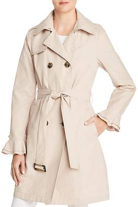 T Tahari Stella Ruffled Trench Coat
