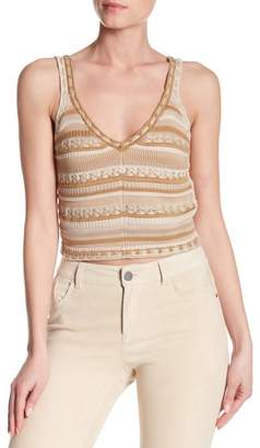Alice + Olivia Sandrine Crochet Crop Tank Top