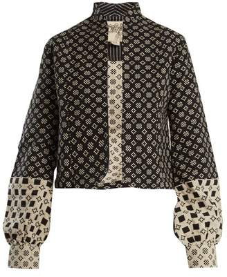 Ace&Jig Jude Stand Collar Cotton Jacket - Womens - Black White