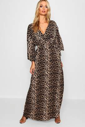 boohoo Leopard Print Maxi Kimono Sleeve Dress