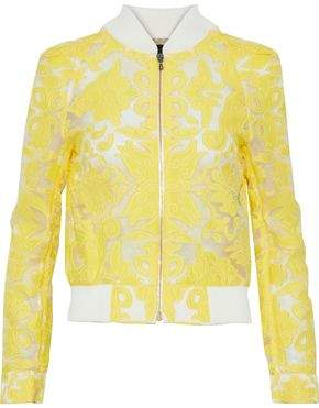 Roland Mouret Fil Coupé Cotton And Silk-Blend Bomber Jacket