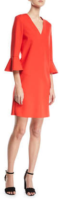 Escada Sport V-Neck 3/4 Bell-Sleeve Crepe Dress