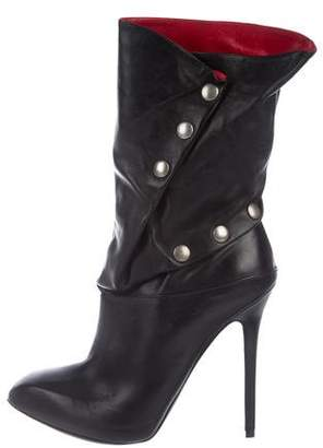 Alexander McQueen Leather Mid-Calf Boots
