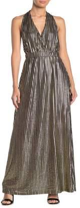 TOV Plunge Halter Stripe Maxi Dress