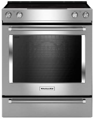 KitchenAid YKSEB900ESS 30-Inch 5-Element Electric Convection Front Control Range with Baking Drawer