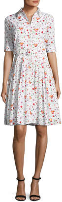 Samantha Sung Audrey Half-Sleeve Floral Shirtdress