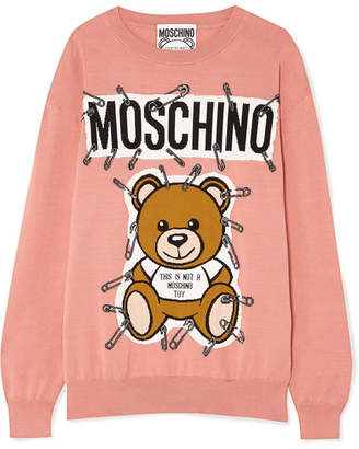 Moschino Teddy Intarsia Cotton Sweater - Antique rose