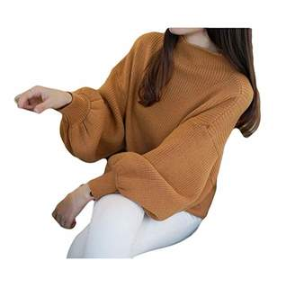 FOYUN Womens Turtle Neck Balloon Sleeve Loose Fit Solid Knit Sweater Pullover Top