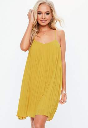Missguided Mustard Strappy pleated Swing Dress