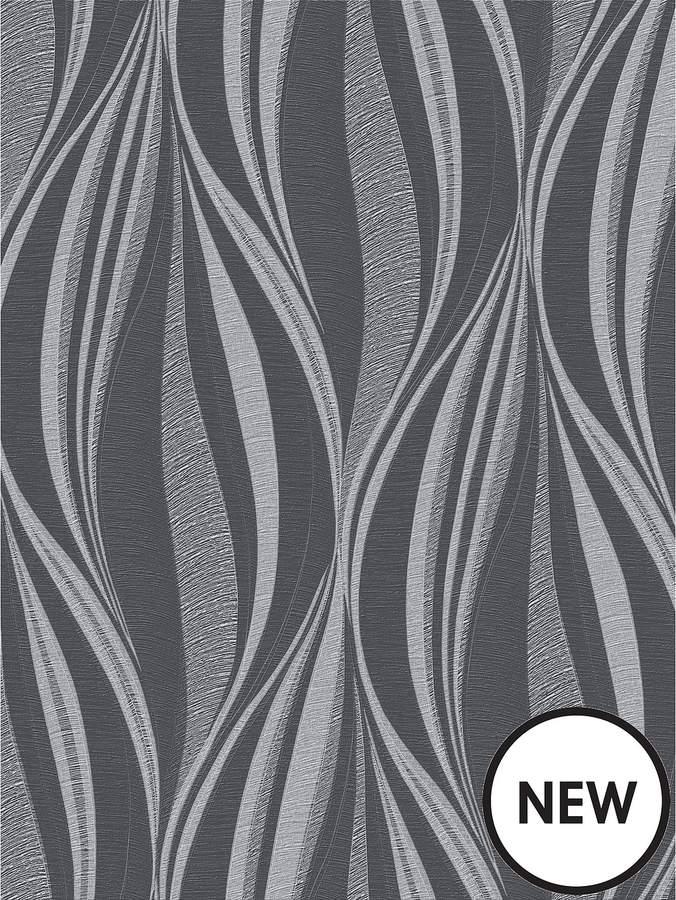 Tango Charcoal & Silver Wallpaper