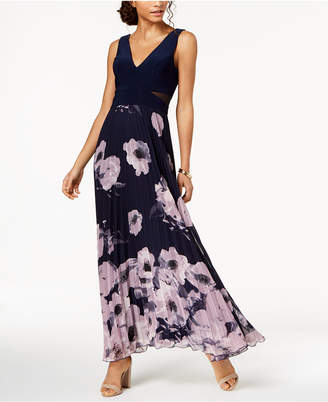Xscape Evenings Pleated Floral-Print Gown