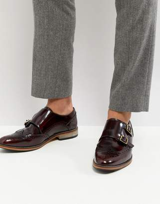 Asos Monk Shoes In Burgundy Leather With Natural Sole