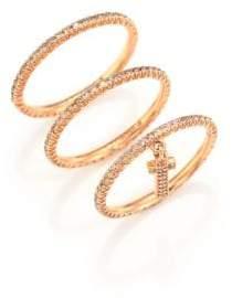 LJ Cross Champagne Diamond& 14K Rose Gold Cross Charm Ring Set