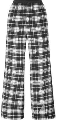 Marc Jacobs Plaid Silk-chiffon Wide-leg Pants - Black