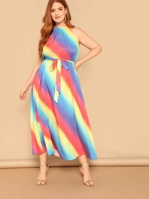 Shein Plus Halterneck Rainbow Ombre Dress With Belt