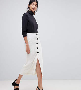 Asos Tall TALL Midi Skirt with Contrast Buttons