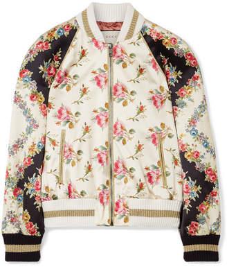 Gucci Appliquéd Floral-print Duchesse Silk-satin Bomber Jacket - Ivory