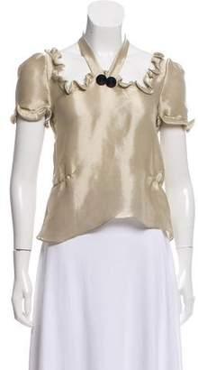 Thakoon Metallic Short Sleeve Top