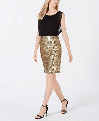 Calvin Klein Sequin Skirt Sheath Dress