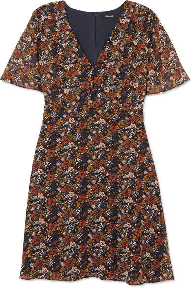 Madewell - Floral-print Chiffon Mini Dress - Brown