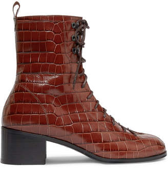 BY FAR - Bota Croc-effect Leather Ankle Boots - Brown