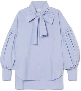 Hillier Bartley - New Romantic Pinstriped Cotton-poplin Shirt - Light blue