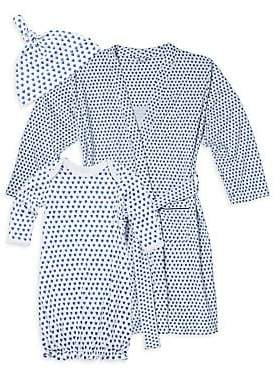 Roller Rabbit Baby's 3-Piece Hearts First Day Cotton Hat, Adult Robe & Gown Set
